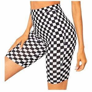 Leggings Depot Black White biker-shorts size 2X